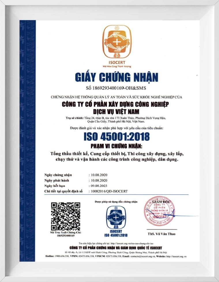 chứng nhận iso 45001-2018
